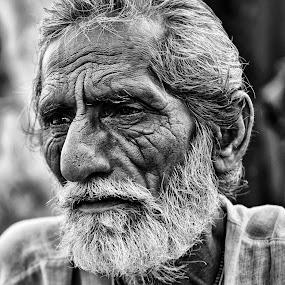 Detailed by Shibasish Saha - People Street & Candids ( old age, black and white, oldish, portrait, man,  )