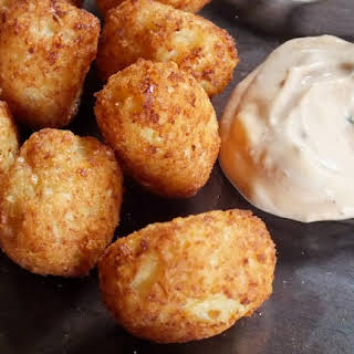 "Low Carb Parmesan ""Tater Tots"" with Chipotle Dipping Sauce."