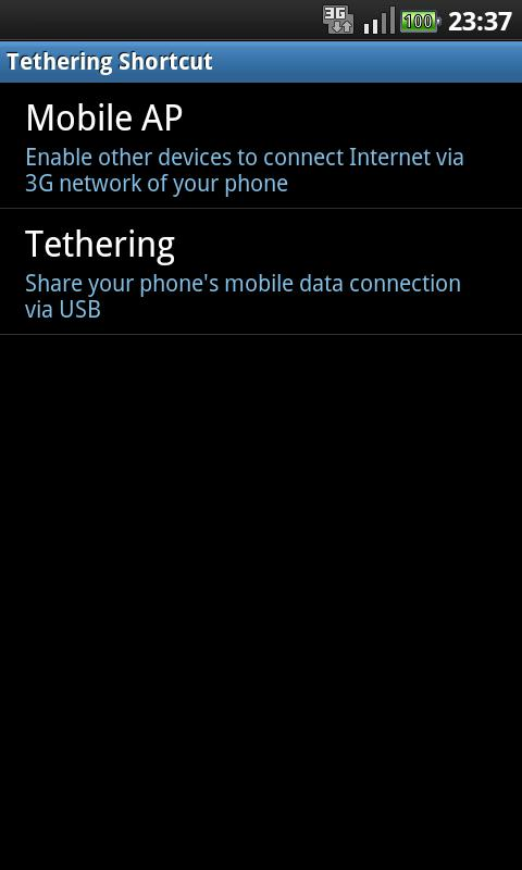 Tethering Shortcut - screenshot