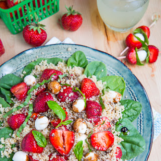 Strawberry Quinoa and Spinach Caprese Salad.