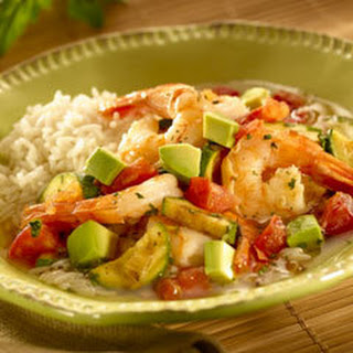 Shrimp & Avocado In Savory Broth.