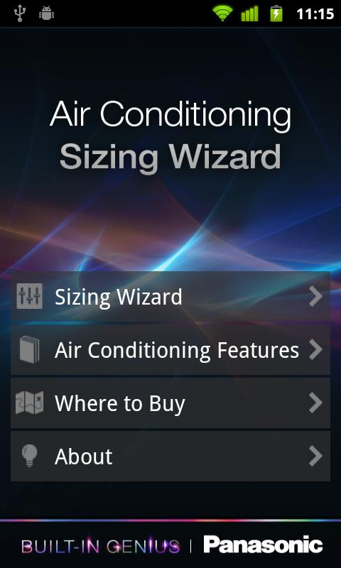 Panasonic Aircon Sizing Wizard - screenshot