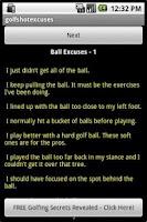 Screenshot of Funny Golf Shot Excuses