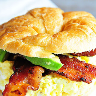 Egg Salad Sandwich with Bacon and Avocado.