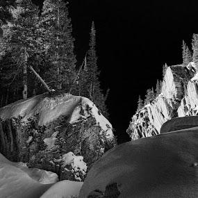 Black Sky......cold ravine... by Johnny Gomez - Black & White Landscapes