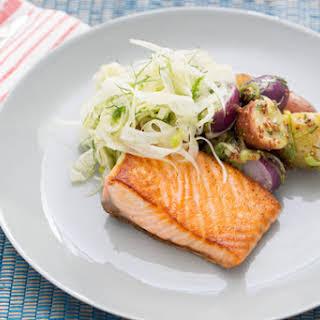 Pan-Seared Salmon with Fennel & Heirloom Potato Salad.