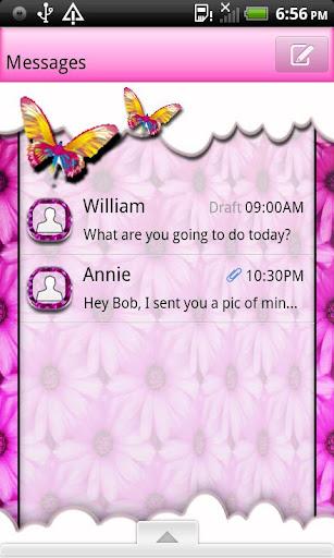 GO SMS THEME PnkDaisyButtrfly