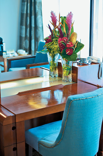 Bright touches in Owner's Suite 701 on the Paul Gauguin, which features butler service and can accommodate up to four guests.