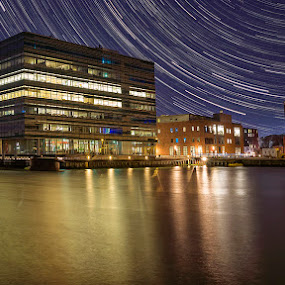Cold night and a Clear Sky  by Awais Khalid - City,  Street & Park  Night ( lights, water, building, star trails, landscape )
