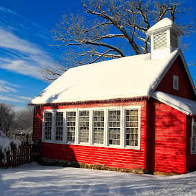 Little Red School House by Robert Gallucci - Buildings & Architecture Public & Historical ( winter, red whtie and blue, one room schoolhouse, vibrant )