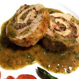 Pan Roasted Pork Tenderloin with a Blue Cheese and Olive Stuffing.