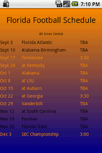 Florida Football Schedule - screenshot thumbnail