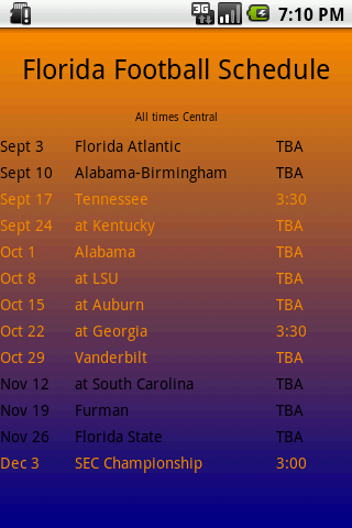 Florida Football Schedule - screenshot