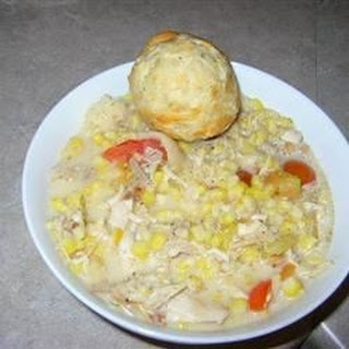 Creamy Chicken with Corn, Tarragon and Tomatoes.