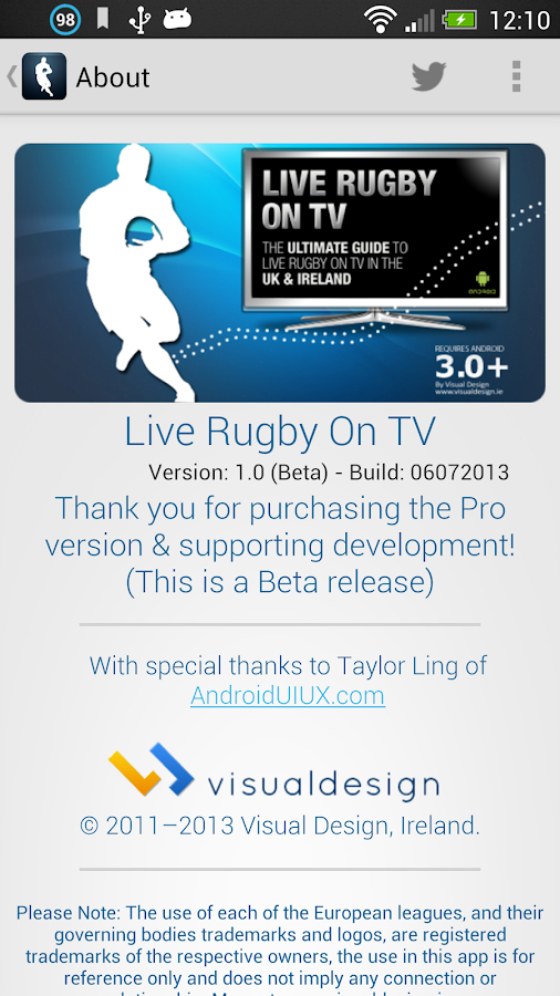 Live Rugby On TV - screenshot