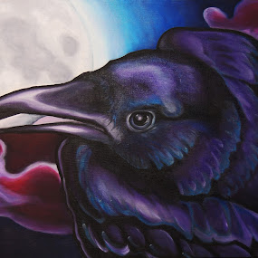 Raven by Veronica Blazewicz - Painting All Painting ( bird, raven, moon, nature, art, corvid, wildlife, crow, painting, artwork, halloween, oil )