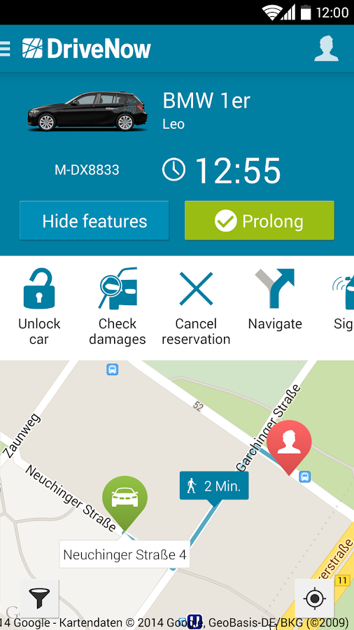 DriveNow Carsharing - screenshot