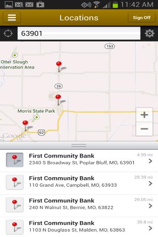 1st Community Bank Mobile- screenshot