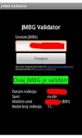 Screenshot of JMBG Validator