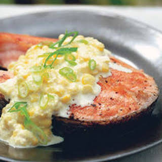 Grilled Salmon with Creamed Corn Sauce.