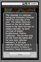 Screenshot of Orthodox Calendar of Saints NS