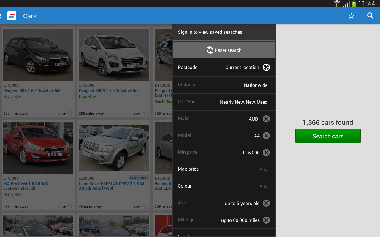 auto trader how to save search