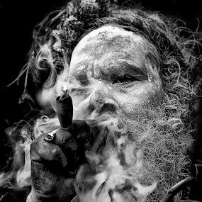 Smoker by Shibasish Saha - Black & White Portraits & People ( face, smoker, people, sadhu, portrait )