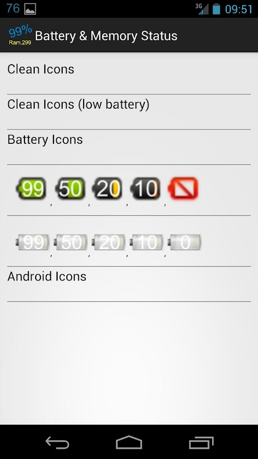 Battery & Memory Status free - screenshot