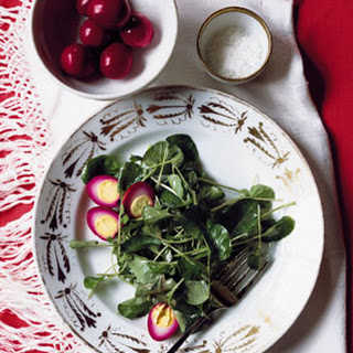 Watercress Salad with Pickled Quail Eggs.