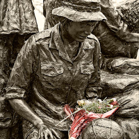 Remembered by Walter Farnham - Artistic Objects Still Life ( loss, black and white, verticle, vietnam, nurses memorial, selective color, pwc,  )