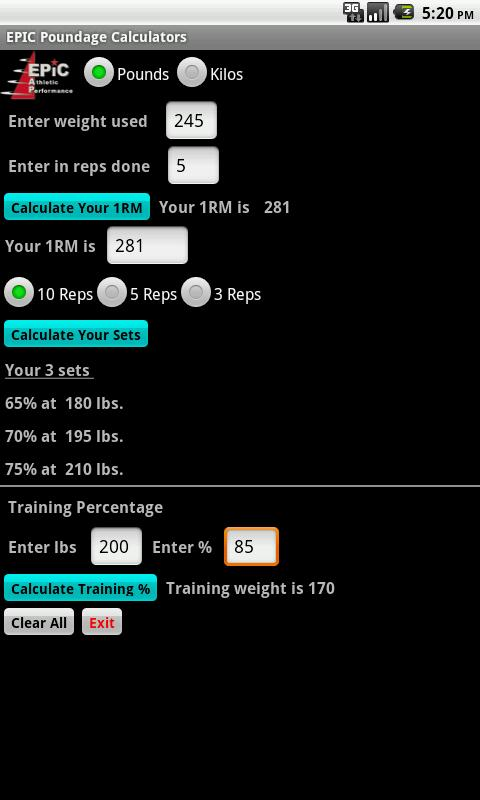 EPIC Poundage Calculator- screenshot