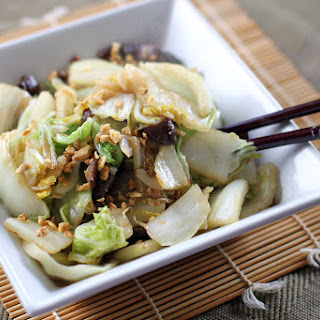 Stir Fried Chinese Cabbage and Shiitake Mushrooms.
