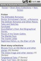 Screenshot of Works of Nathaniel Hawthorne