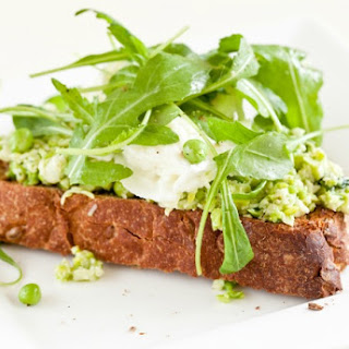 Peas with Ricotta and Mint on Grilled Crostini.