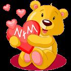 Sticky teddy bear love heart icon
