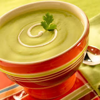 Avocado Soup With Chipotle Cream.