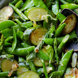 Snap Peas, Asparagus and Zucchini Sauté