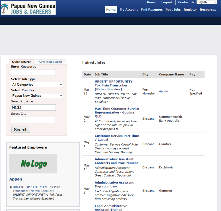 Papua New Guinea (PNG) Jobs- screenshot