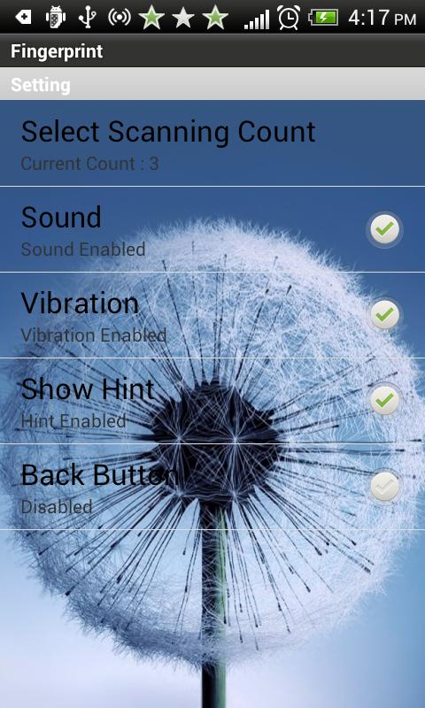 Fingerprint scanner Galaxy S3 - screenshot