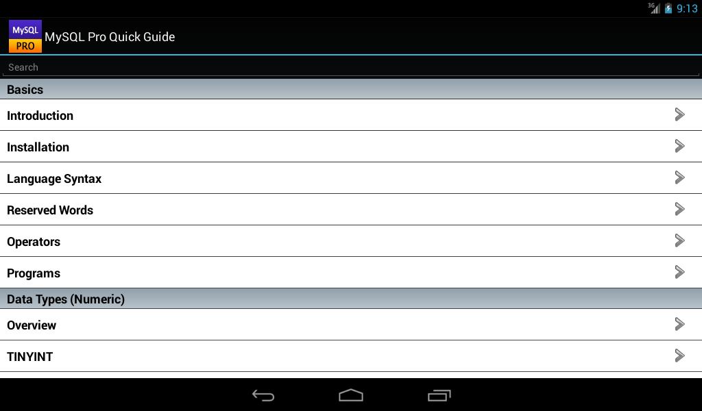 MySQL Pro Quick Guide- screenshot