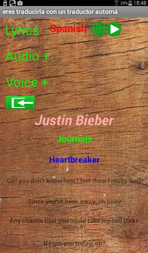 Justin Bieber Lyrics Translate