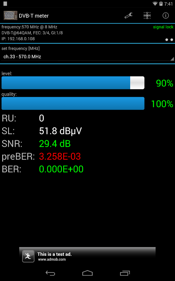 DVB-T meter- screenshot