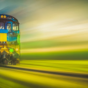 Untitled train by Charlotte Hellings - Transportation Trains ( panning, railway, color, speed, train )