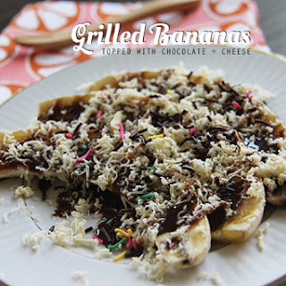 Grilled Bananas/Toast Topped with Chocolate and Cheese for #SundaySupper