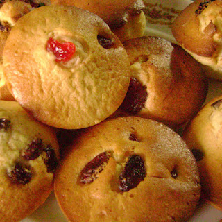 Red Fruit and Raisin Muffins.