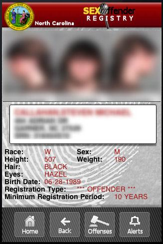 NC Sex Offender Registry - screenshot