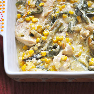 Rajas with Chicken (Creamy poblano strips with chicken).