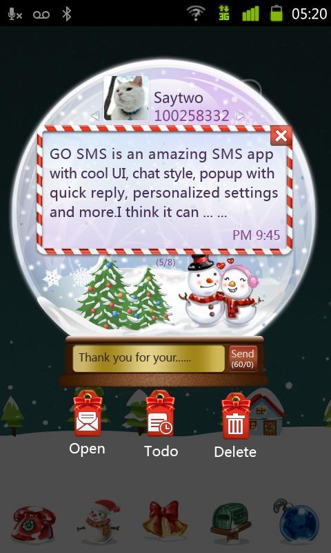 GO SMS Pro Snowlove Popup them - screenshot