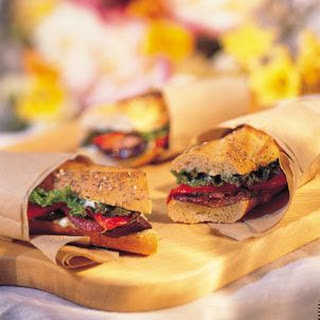 Grilled Eggplant, Red Onion and Pepper Sandwich with Basil Mayonnaise