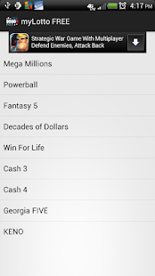 myLotto FREE Lottery QuickPick - screenshot thumbnail